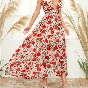 Twist front open back floral print cami dress